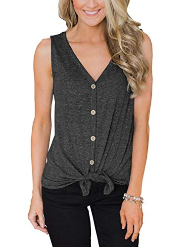 PRETTODAY Women's Summer V Neck Tank Tops Tie Front Button Up Sleeveless Shirts Casual Loose Blouses (Medium, C-Charcoal)