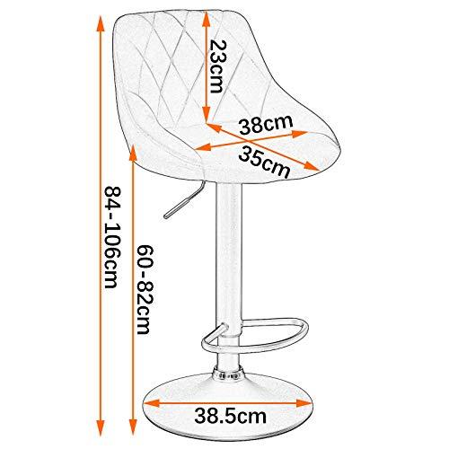 WOLTU BH219dgr-1 1er Barhocker Barstuhl, Gute gepolsterte Sitzfläche aus Samt, Höhenverstellbar, 360° Drehbar, Farbwahl, in Dunkelgrau - 2