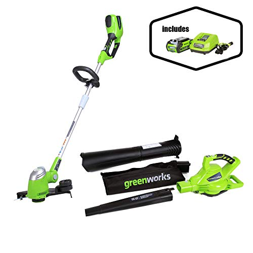 Greenworks 40V 185 MPH Variable Speed Cordless Blower Vacuum, 4.0 AH Battery Included 24322 with  13-Inch 40V Cordless String trimmer/Edger, Battery Not Included 21332