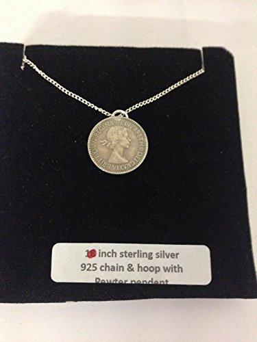 Elizabeth II Coin Sixpence WE-E2SCCP - Emblema de peltre inglés en un collar de plata de ley 925 de 45,7 cm