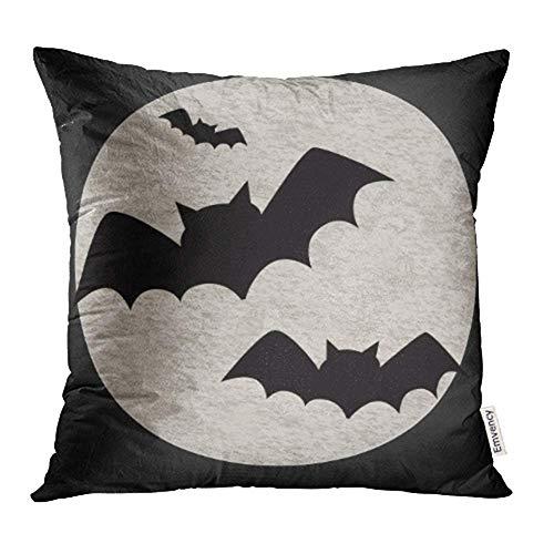 dpcm Funda de cojín decorativa para Halloween, diseño de murciélagos y luna llena volando al otoño, color negro