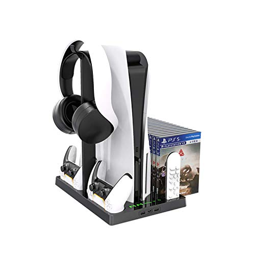 Vertical Stand with Cooling Fan for PS5 Console and PS5 Digital Edition, PS5DualsenseChargingStation, Charging Station Dock with Dual Controller Charger Ports and Retractable Game Storage for PS5