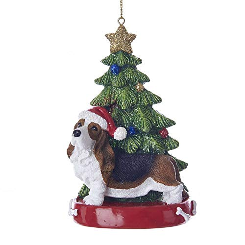 Kurt Adler Bassett Hound With Christmas Tree Ornament