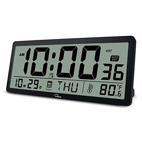 WallarGe Large Digital Wall Clock - 14 Inch Oversize Battery Operated Desk Clock with Temperature,Date and Second Large Display,Auto DST,Great Clocks for Seniors,Living Room and Office.
