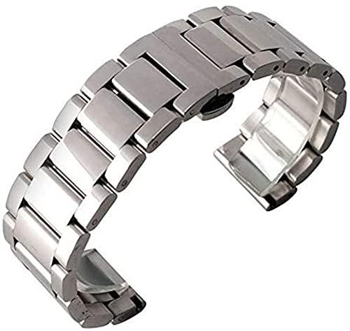chenghuax 18 mm, 20 mm, 22 mm, acero firme, correa de reloj de pulsera con botón pulsador, para hombres y mujeres, con hebilla de despliegue + 2 barras de resorte para reloj (color 18 mm)