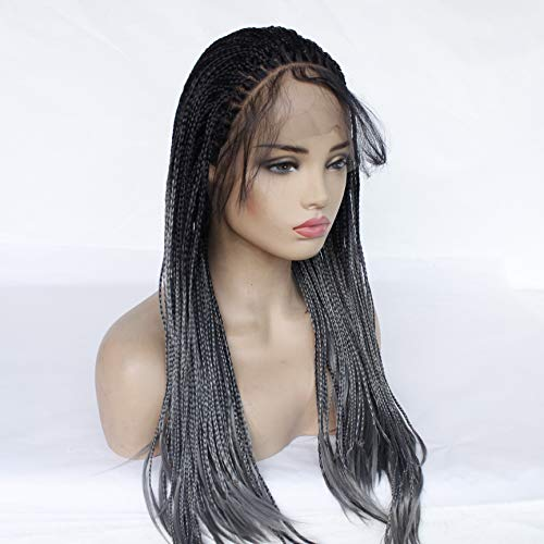 Pelucas Europe And The United States New Ex-Lace Wig Three Strands Of Braids Black Gray Gradient No Trace Whole Head Hair Wig Head Set Female