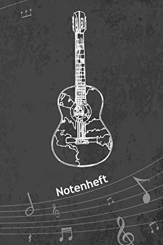 NOTENHEFT: A5 Musik Notenblock für Musiker Komponisten - 120 Seiten Notenlinien Blanko Notenpapier - für Musikinstrumente Instrumente - Gitarren Skizze für Solokünstler - Gitarre Zeichnung Matte Cover