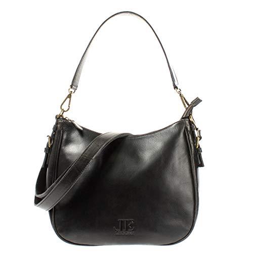 LECONI Schultertasche Henkeltasche Damentasche Umhängetasche natur weiche Ledertasche Handtasche Damen Leder 30x27x11cm schwarz LE0063-buf