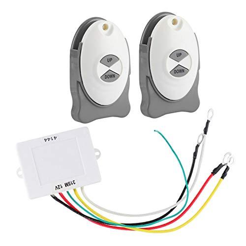 Molinete de control remoto para ancla de barco, ABS 12V Interruptor remoto inalámbrico de anclaje Controlador de ajuste de vela impermeable para barco Accesorio de vela 2 Transmisor