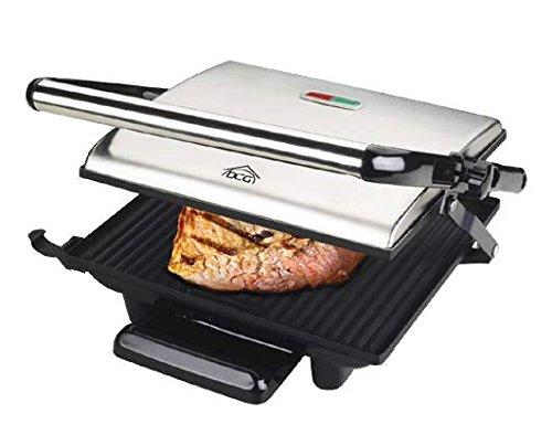 DCG Eltronic ST3800 Griglia di Contatto da Tavolo Elettrico 2000W Nero, Acciaio Inossidabile Barbecue e bistecchiera