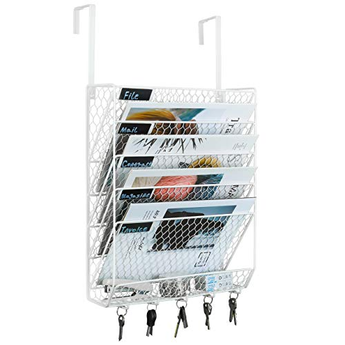 PAG Hanging Wall File Holder Mail Organizer Metal Chicken Wire Wall Mounted Literature Rack with Hooks for Office, 6 Tier, White