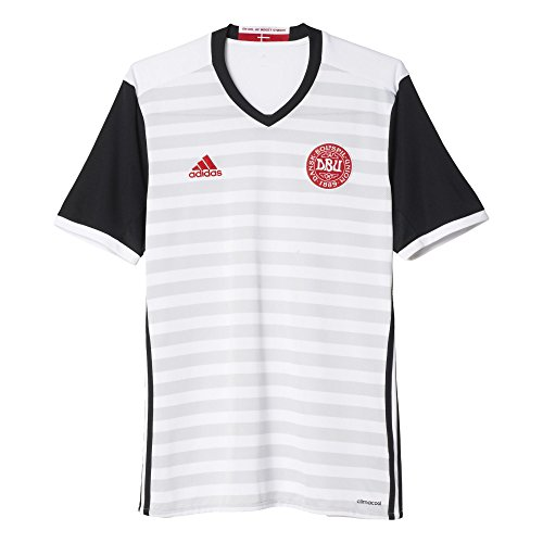 adidas Dänemark Auswärts Camiseta, Hombre, Gris/Blanco/Negro (Blanco/Negro), 2XL