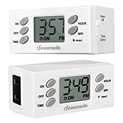 DEWENWILS Indoor Plug in Outlet Timer, Digital Programmable Plug in Lamp Timer Switch with 1 Polarized Outlet, Space Saving Bar Timer for Christmas Light, Aquarium, 1/2 HP UL Listed, Pack of 2