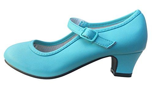 La Senorita Spanska Flamenco skor isblå Elsa frusna prinsesshällar utklädnad (barn storlek 10 UK - inuti 18 cm)