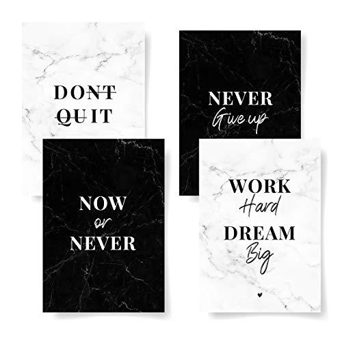 Donari® 4er Postkarten Set Motivation edles Design in A6 • Motivationskarten Sprüche und Zitate für Erfolg schwarz weiß • Schöne Karten Freundschaft Vintage (Motivation)