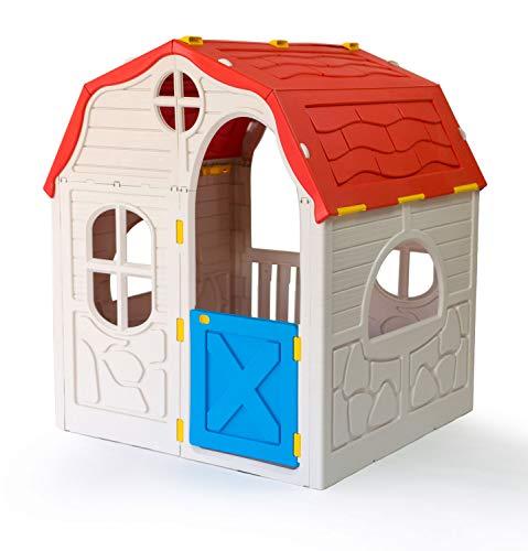 P:os 76907 - Casetta pieghevole XL per bambini, ca. 98 x 91 x 115 cm, in plastica resistente, adatta per interni ed esterni, facile da montare grazie al sistema pieghevole