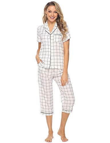 iClosam Pijama Mujer Corto Verano, Pijamas Celosía Camiseta y Pantalones Suave Comodo Casual Ropa para Dormir S-XXL