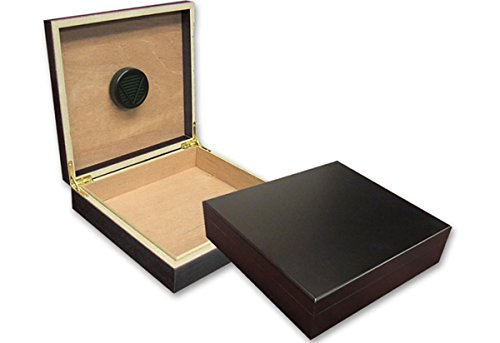 Prestige Import Group Chateau Small Cigar Humidor with Humidifier - Capacity: 20 Cigars - Color: Black