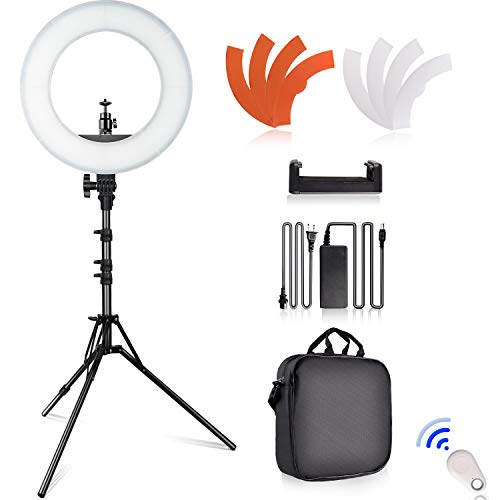 Ring Light Kit, SAMTIAN 14'' Outer Selfie LED Ringlight with Stand 180° Dimmable Live Streaming Lighting Remote, Carrying Bag for Camera,Phone,YouTube,TikTok,Makeup,Video Recording