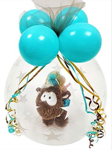 Qualatex Kuscheltier Ballon Elch Rentier NICI verpackt Stofftier Luftballon Geschenk Weihnachten Geburtstag