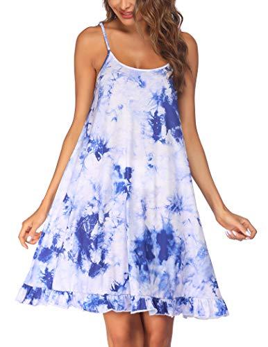 Ekouaer Tie Dye Nightgown for Women Soft Ruffle Hem Nightshirt Sleeveless Nightdress Short Chemise (PAT2,L)