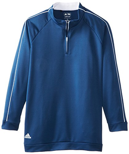 adidas Golf Boy's 3-Stripes Piped 1/4 Zip Jacket, Midnight/White, Medium