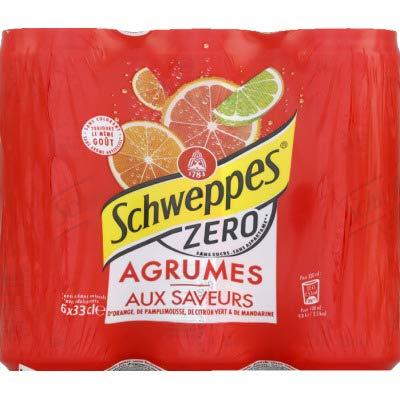 Schweppes Boisson gazeuse aux extraits naturels dorange et arômes pamplemousse, citron vert et mandarine - Les 6 canettes de 33cl