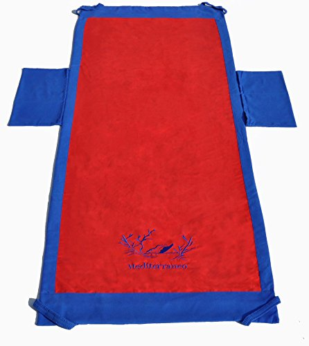 Casatessile Toalla de Playa Bordada con Bolsillos 70x190 cm - Rosso - Rojo