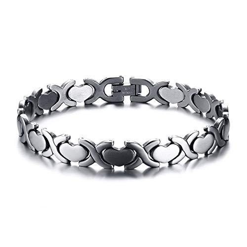 QFJCNZ Armband Armbänder Edelstahl Love Heart Tennis Kettenglied Silber Gold Farbe Modeschmuck