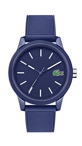 Lacoste Relógio masculino L.12.12. Caixa TR90 de quartzo e pulseira de borracha, cor: azul (modelo: 2010987)