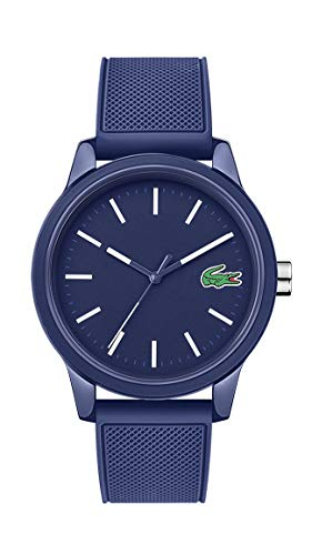 Lacoste Reloj casual de cuarzo TR90 para hombre L.12.12, con correa de goma, color azul (modelo: 2010987)