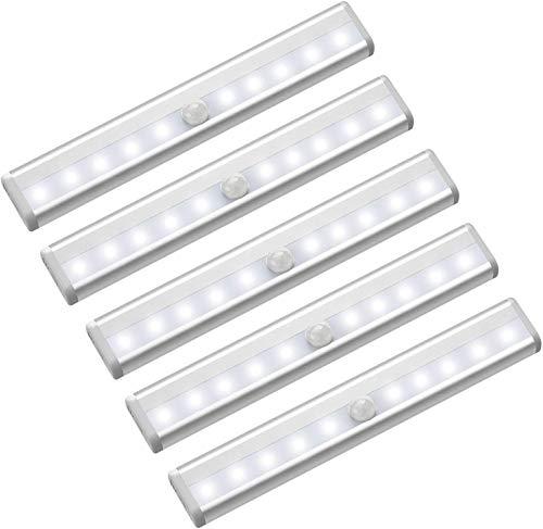 Iluminación debajo del gabinete inalámbrica, 10 LED, funciona con pilas, sensor de movimiento inalámbrico, luces de armario, luz magnética debajo del mostrador, para pasillo de cocina, paquete de 5