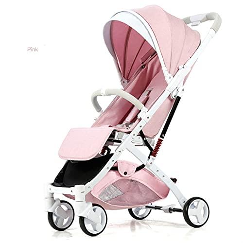 ZHYLing Cochecito de bebé Ligero Alto Cochecito de Paisaje Carrito recién Nacido Carrito Pobling Puede Sentarse o mentir Adecuado 4 Temporadas (Color : Pink 2)