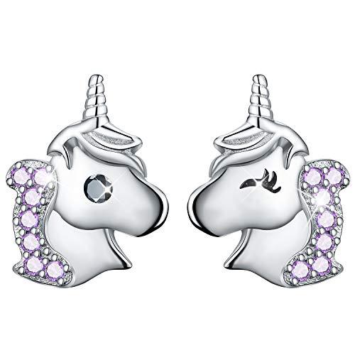 ✦Ostergeschenke Kinder✦Esberry Ohrringe Einhorn Mädchen,Einhorn Ohrringe mit Zirkonia Asymmetrie Ohrringe Hypoallergene Einhorn Stecker Ohrringe Kinder Ohrringe Mädchen Silber 925 (Purple)