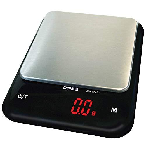 DIPSE 2097 professionell digital våg köksvåg fin våg med Li Ion teknik batteri 320 mAh – väghylla och rostfritt stål vägningsyta – 5000 g i 0,2 g – LED-display