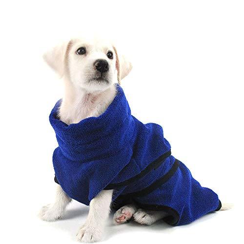 Liboom Mikrofaser Haustier Bademantel,Einstellbar Saugfähiger Handtuch Bad Kleidung, Schnelltrocknend Tragbar für Kleinen, Mittlere, Großen Hunde und Katzen Blau XL