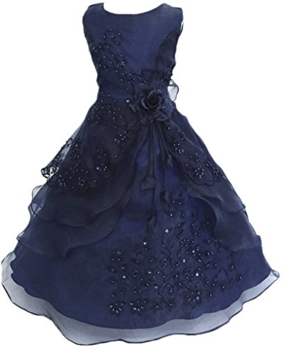 Shiny Toddler Big Girls Embroidered Beaded Flower Girl Birthday Party Dress with Petticoat 9t-10t,Dark Blue