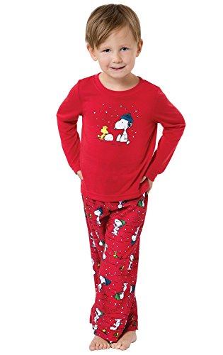 PajamaGram Cute Christmas Pajamas Toddler - Snoopy & Woodstock, Red, 4T