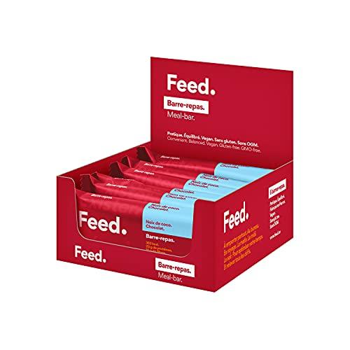Feed. - Barritas Sustitutivas de Comida Original 400 kcal por Comida – Proteína Vegana y Sin Gluten - Coco y Chocolate - Pack de 6 (6x100 g)