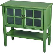 خزانة وحدة تحكم من الزجاج الشفاف من هوم روتس MDF، خشبي، زجاج أخضر شفاف مع رف وبابين وحشوات
