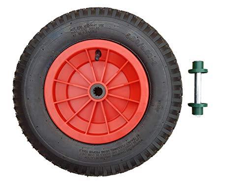Frosal Schubkarrenrad 400 (380) mm inkl. Achse | mit Schlauch | Rad Luftrad Schubkarre | Ersatzrad 4.80/4.00-8 Kunststoff-Felge rot | Reifen 100 mm Breite