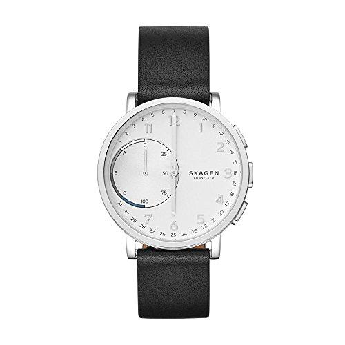 Skagen Connected Men's Hagen Stainless Steel and Leather Hybrid Smartwatch, Color: Silver, Black (Model: SKT1100)