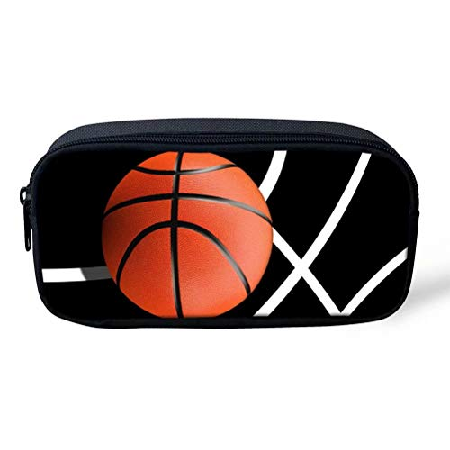 Aulaygo Basketball Pattern Pencil Case 3D Ball Print School Pen Bag Bouch for Boys Durable Large Capacity Smooth Zipper Coin Storage Bag