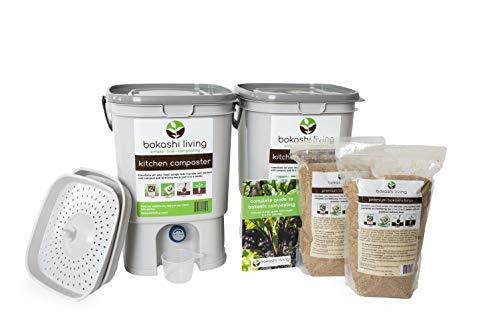 Bokashi Composting Starter Kit (Includes 2 Bokashi Bins, 4.4 lb Bokashi Bran and Full Instructions)