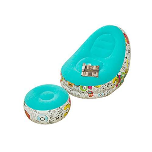 Sedia A Sdraio con Poggiapiedi Incluso Sgabello da Tavolo Pouf, Poltrona Gonfiabile Portatile con Sgabello Poggiapiedi (Lettino 2 Pezzi) Blu