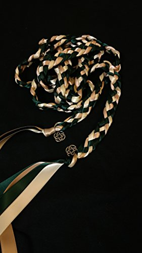 Hunter Green Blush and Ivory Handfasting Cord Ceremony Braid- Celtic Heart Knot - 6 ft- Wedding- Handfasting Cord- Braided Together- Handfasting