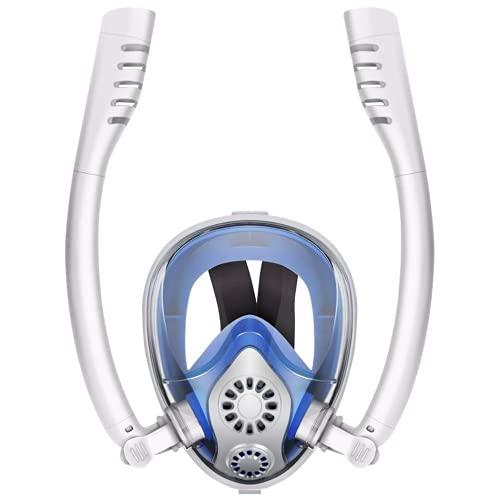 MSHENUED Máscara de esnórquel de Cara Completa Diseño de Tubos Dobles Sistema Superior seco antifugas, Máscara de Buceo antivaho, Paquetes de esnórquel con Vista Grande de 180 Grados