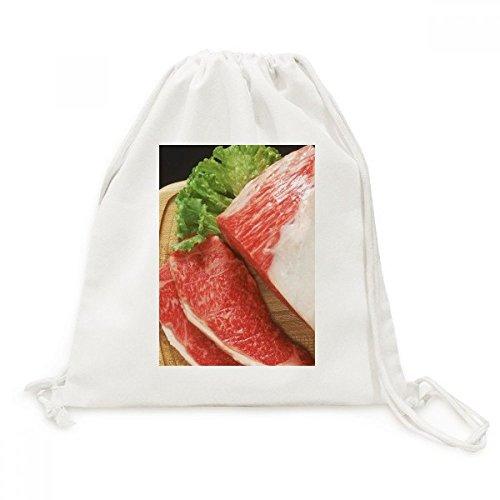 DIYthinker Viande Gigot dagneau Raw Food Texture Toile Drawstring Backpack Voyage Sacs