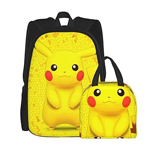 Poke_Mx_N - Juego de mochila para ordenador portátil, mochila de hombro para estudiantes con bolsa de almuerzo (2 piezas), Negro, Talla única