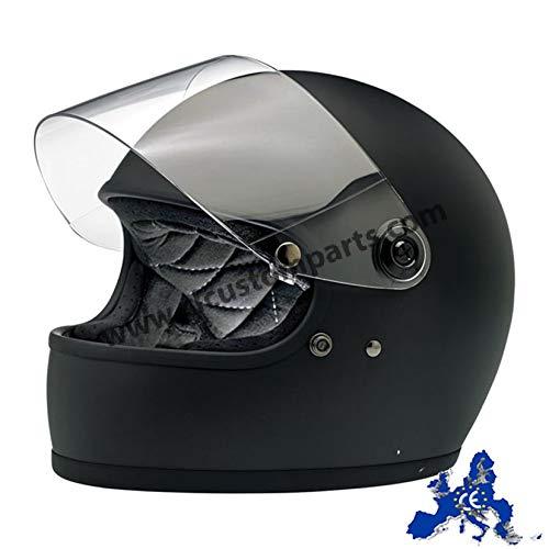 Casco integral Gringo S Biltwell negro mate Flat Black homologado doble homologación ECE (Europa) & DOT (America) Helmet Biker Custom Vintage Retro Año 70 Talla L